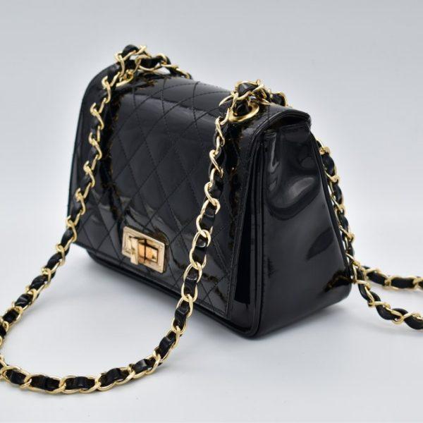 γυναικεία τσάντα ώμου καπιτονέ μαύρη