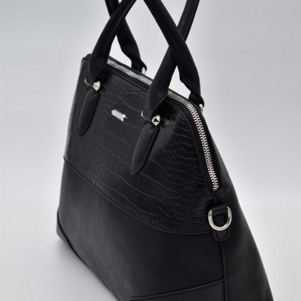 γυναικεία τσάντα χειρός μαύρη κροκό