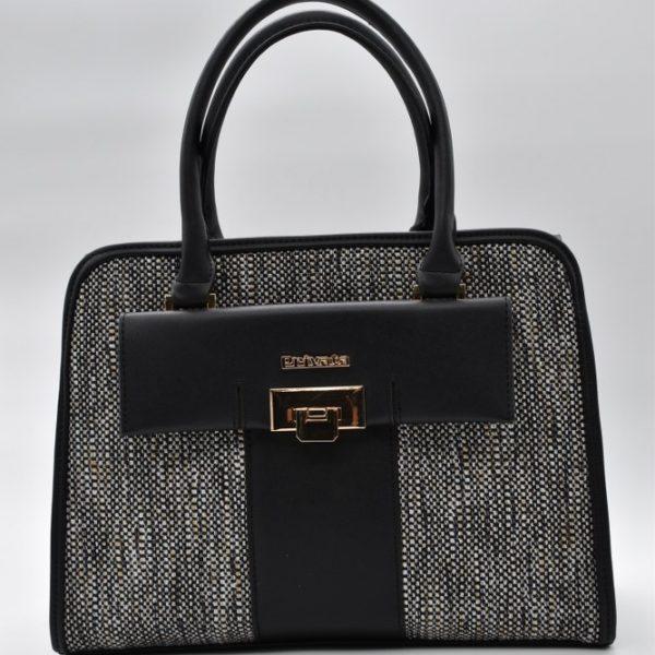 γυναικεία τσάντα χειρός μαύρη-γκρι