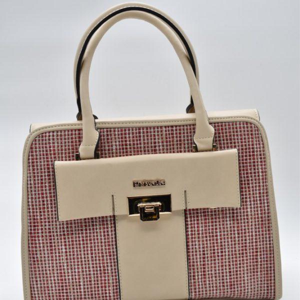 γυναικεία τσάντα χειρός μπεζ-κόκκινη